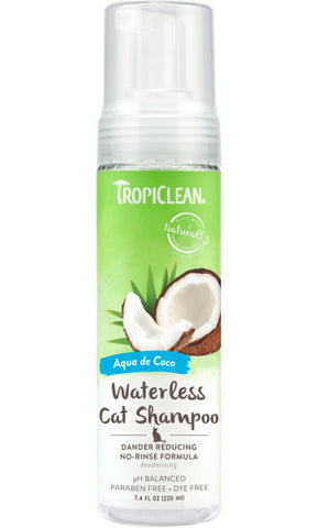 TropiClean Dander Reducing Waterless Shampoo for Cats, 7.4oz