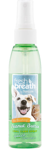 Fresh Breath by TropiClean Peanut Butter Oral Care Spray for Pets