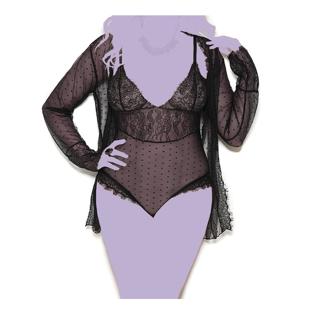 Plus Size Sheer Polka Dot Teddy With Sheer Robe