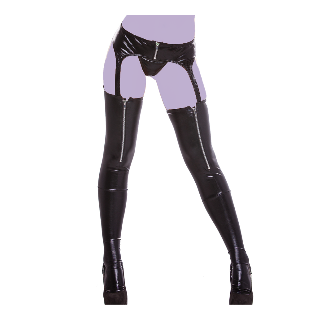 Wet Look Zipper Garter Tights