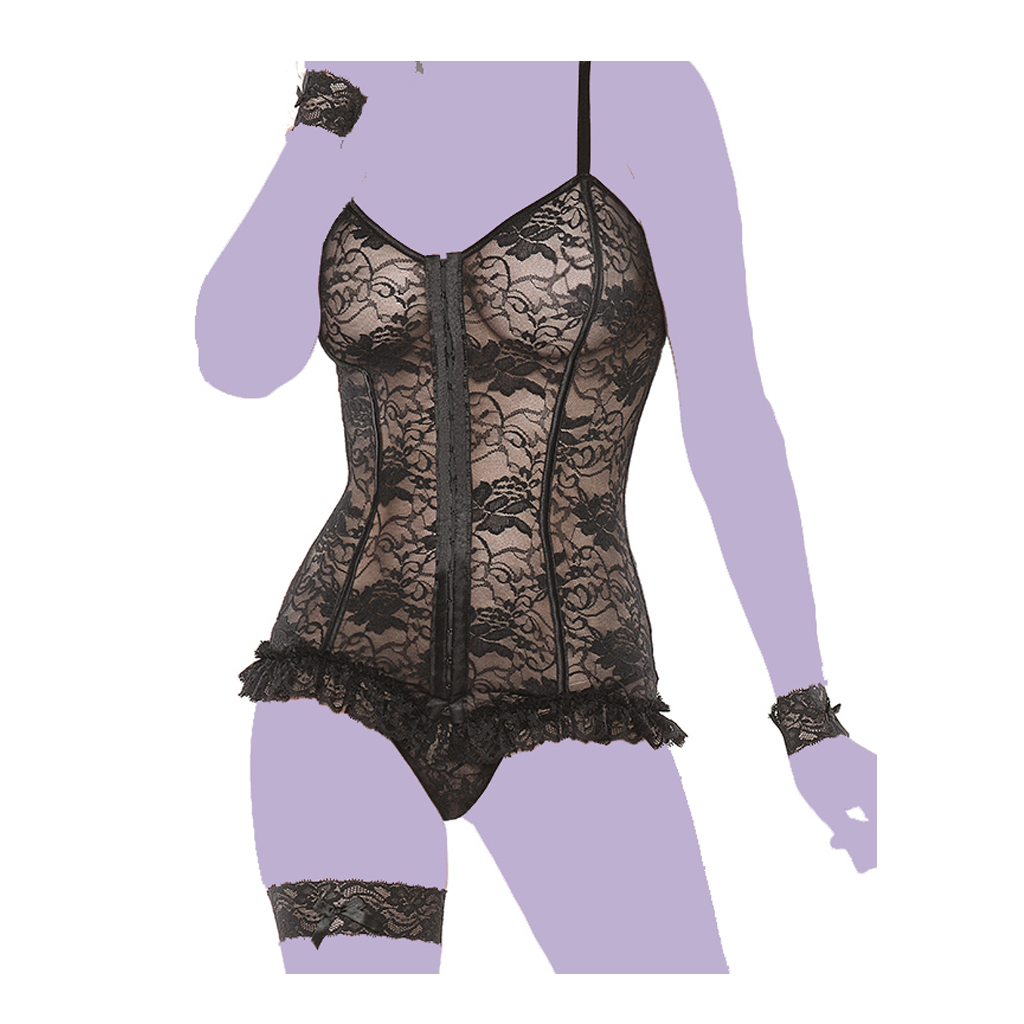 Stretch Lace Corset and G-String Set