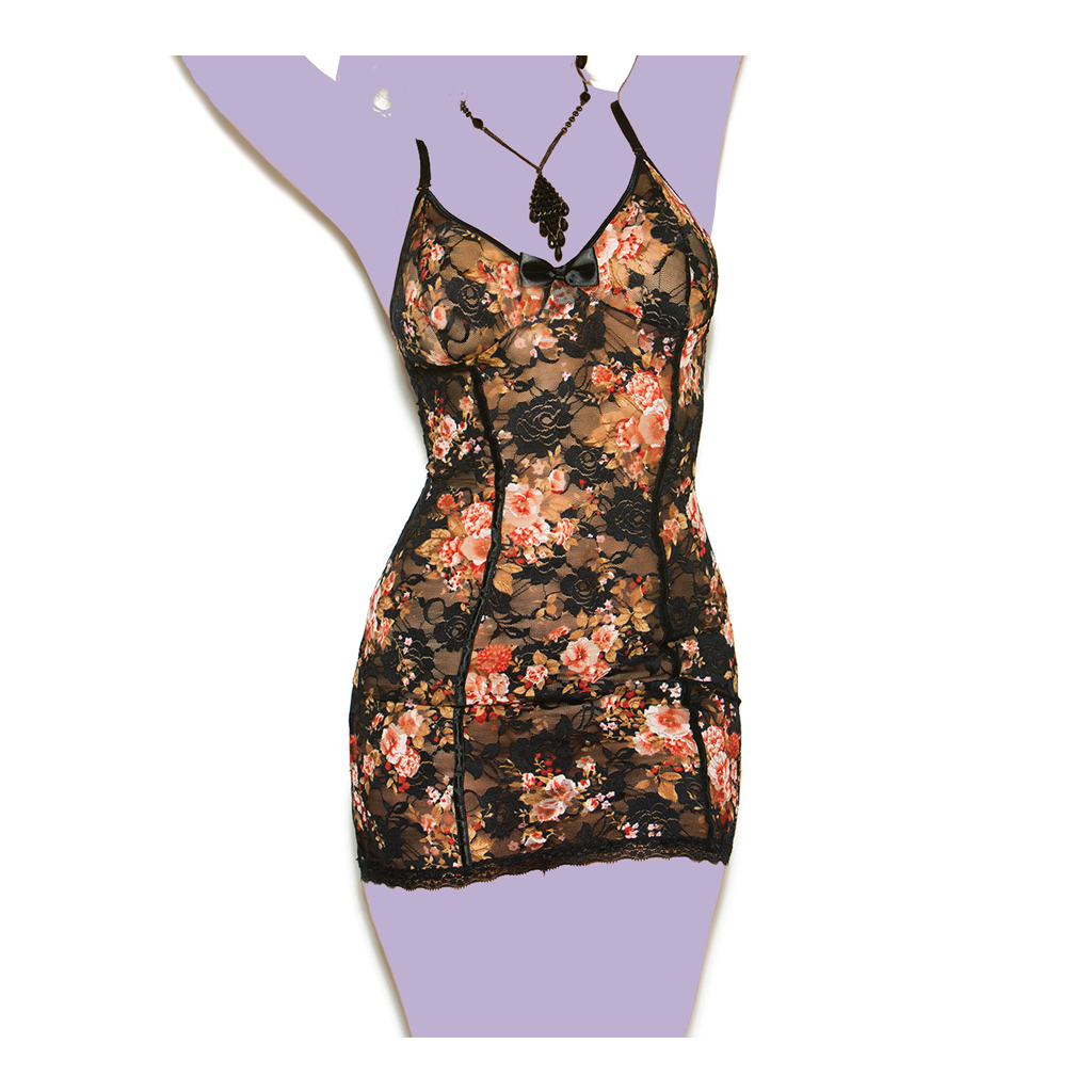 Floral Print Lace Babydoll