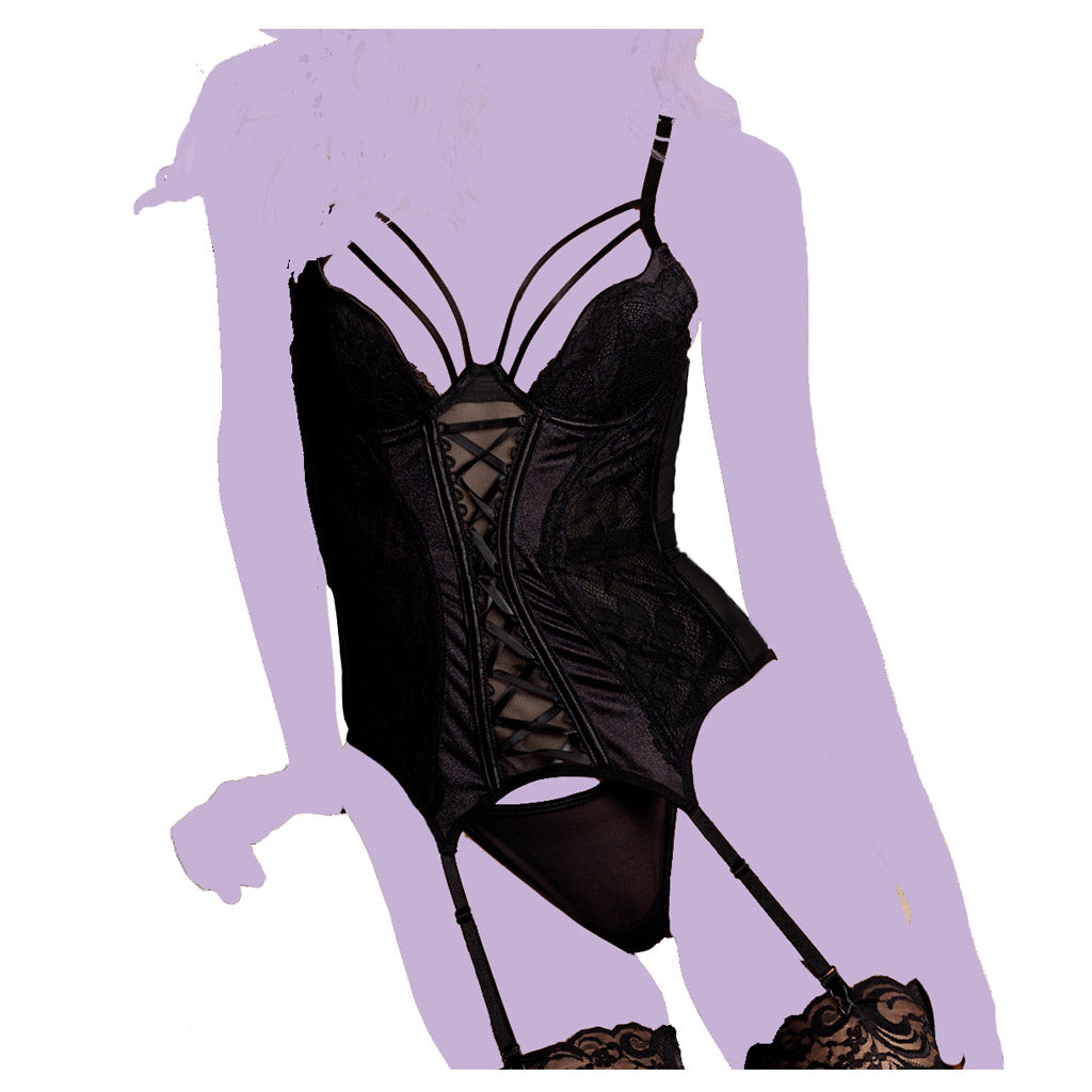 Black Stretch Mesh and Lace Bustier Set