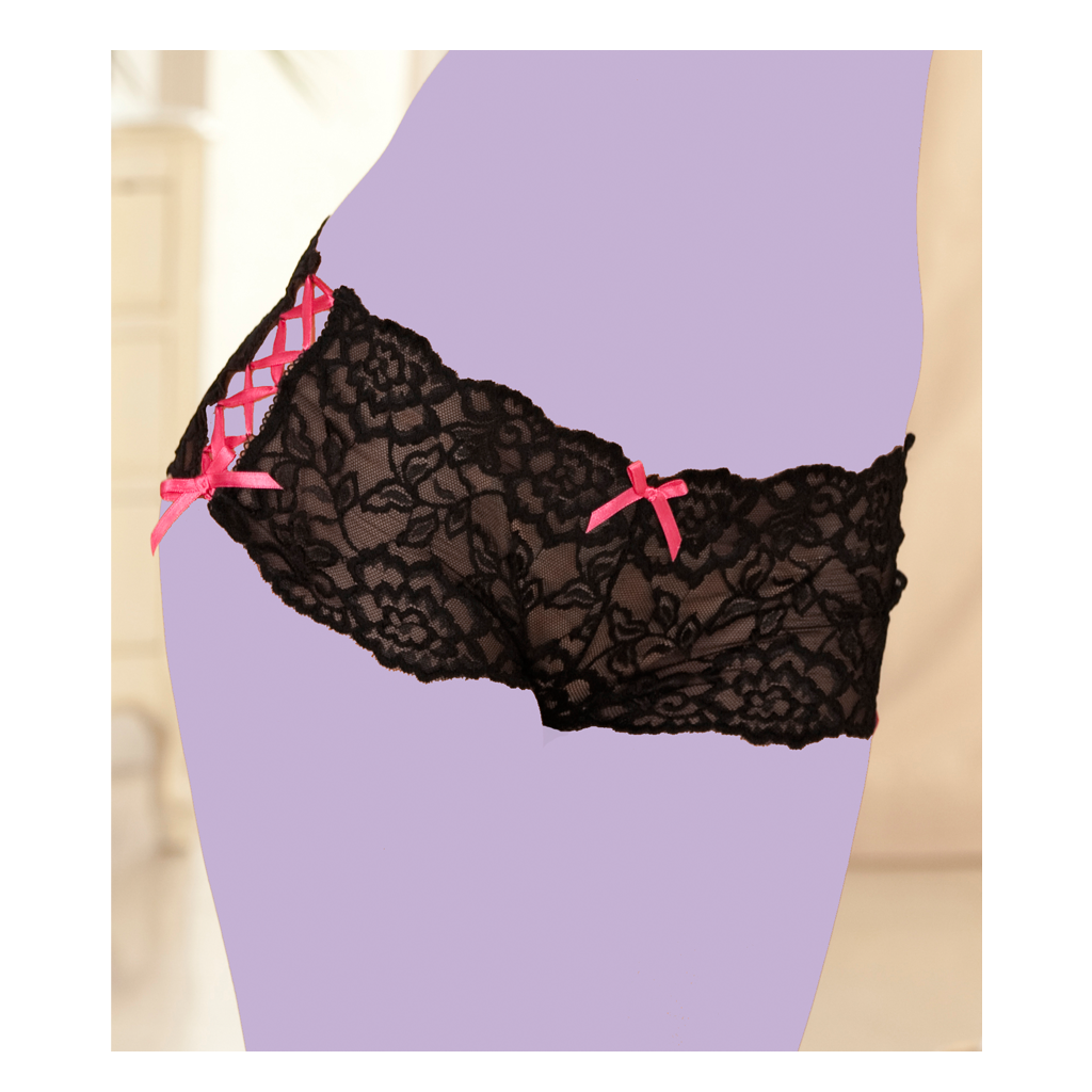 Crotchless Lace Side Tie Panty