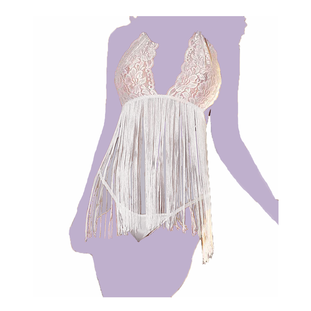 Stretch Lace & Fringe Babydoll