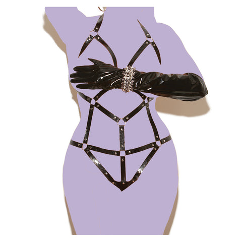 Plus Size Vinyl Strappy Teddy