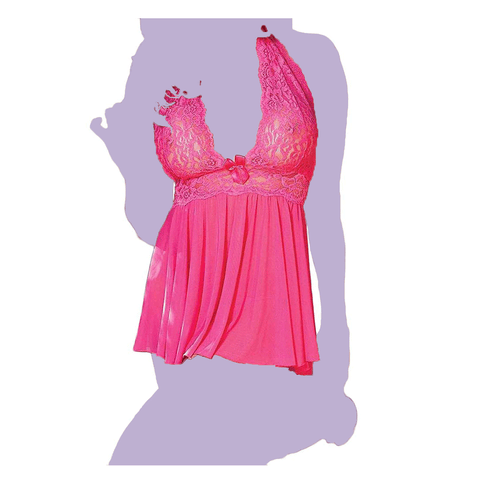 Halter Style Lace and Flowy Mesh Babydoll Set