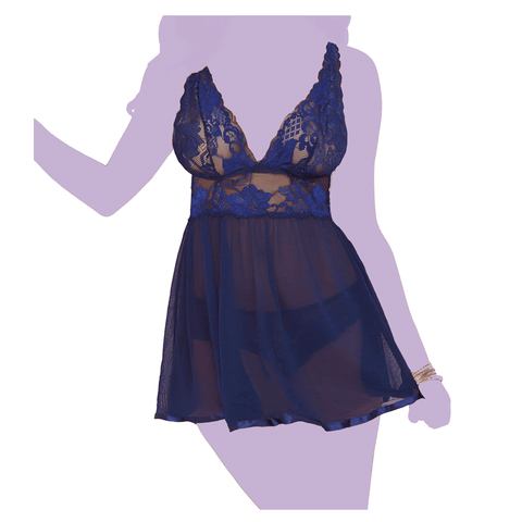 Evening Romance Lace and Mesh Babydoll Set