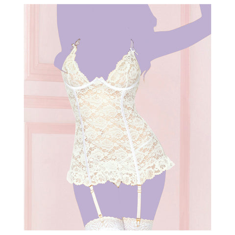White Lace Three Piece Chemise Set