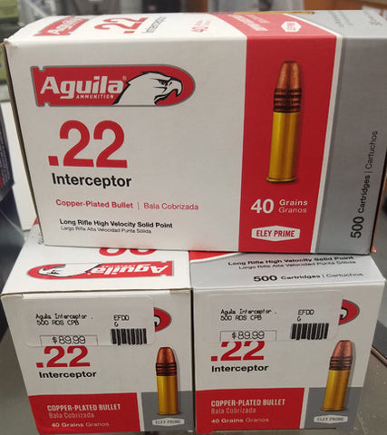 Aguila Interceptor Rifle Ammunition, 22 Long Rifle, 500RDS