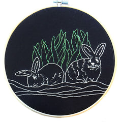 Rabbits Embroidered Hoop Art