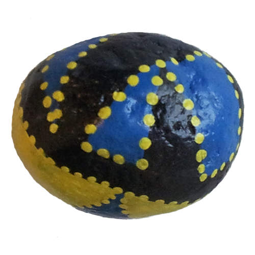 Abstract Black & Yellow Rock Painting