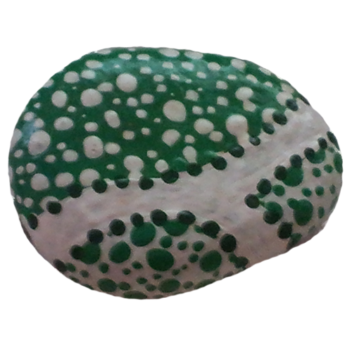 Green and White Art on Stone