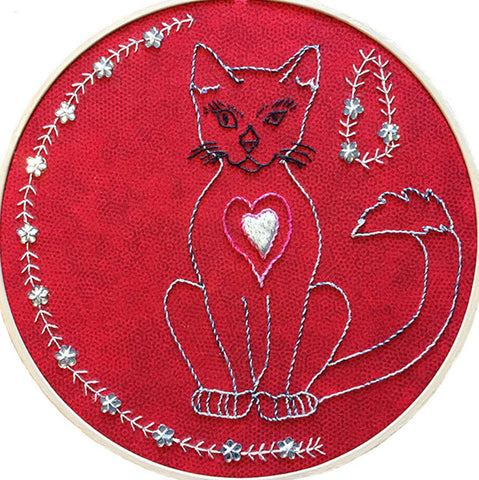 Cat Embroidered Hoop Art