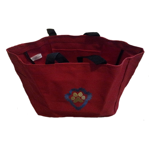 Red Paw Print Embroidered Tote Bag