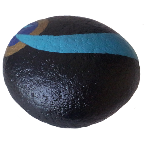 Black Hand Painted Stone