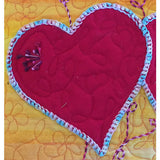 Hearts Fabric Art Wall Hanging