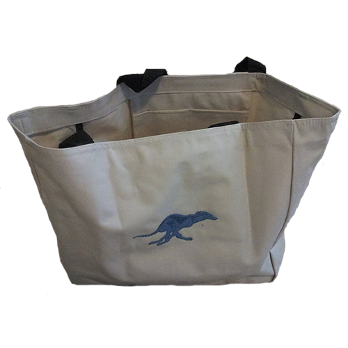 Greyhound Embroidered Ivory Tote Bag