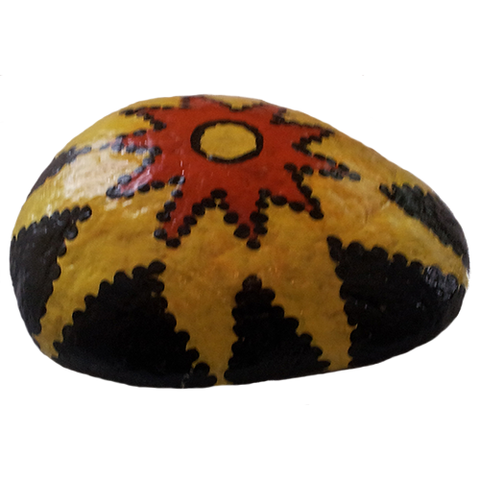 Black Flower Rock Painting