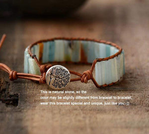 Elegant AF Bohemian Amazonite Stone Leather Wrap Bracelet