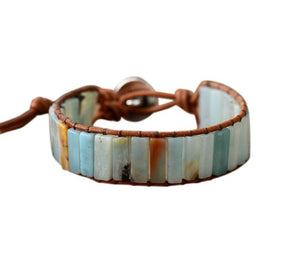 Bohemian Amazonite Stone Leather Wrap Bracelet - Elegant AF