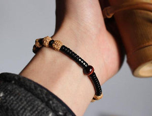 Coconut Shell and Rudraksha Tiger's Eye Bracelet - Elegant AF