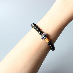Golden Obsidian Beaded Bracelet with Dragon Charm - Elegant AF