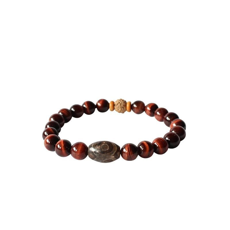 Red Tiger's Eye + Tibetan Agate Beaded Bracelet - Elegant AF