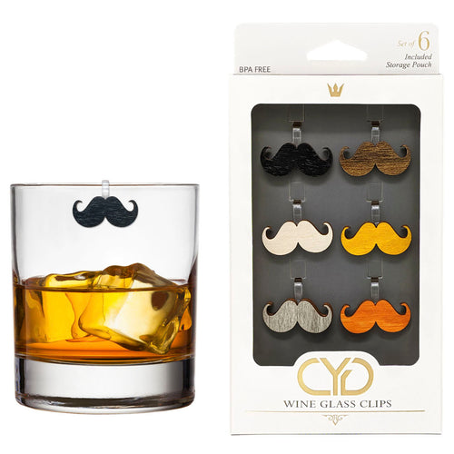 Curly Mustache Wine Glass Clips - Set of 6