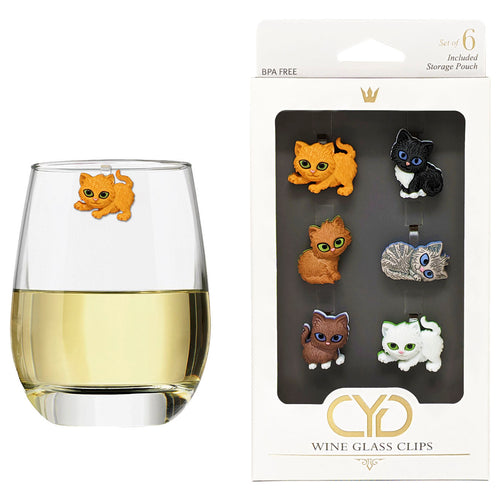 Cute Kitty Wine Glass Clips - Set of 6