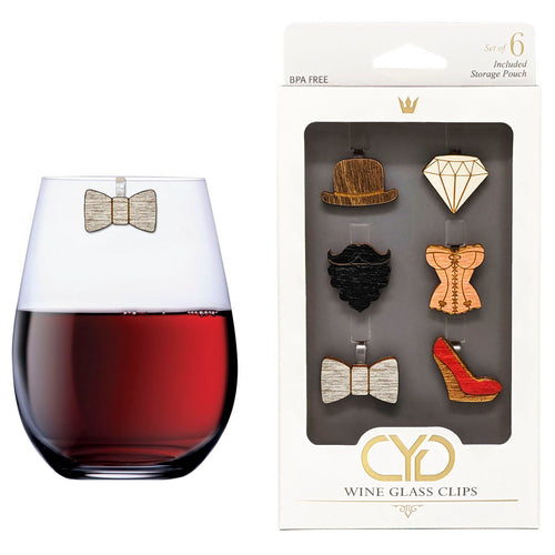His and Hers Wine Glass Clips - Set of 6
