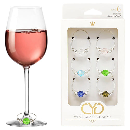 Preciosa Crystal Wine Charms - Set of 6 (Pastel Colors)