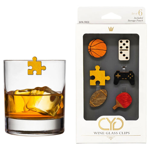 Sports and Games Wine Glass Clips - Set of 6