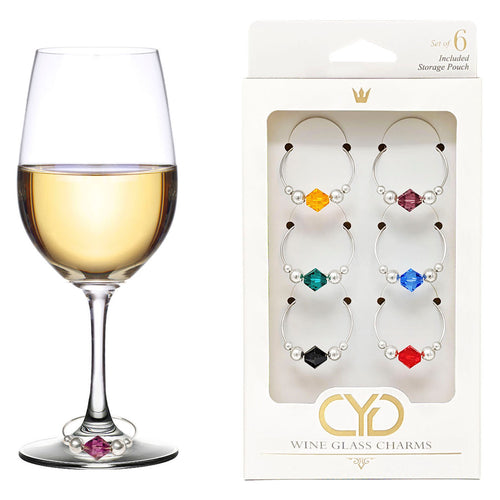Swarovski Crystal Wine Charms - Set of 6