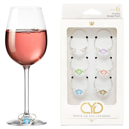Swarovski Crystal Wine Charms - Set of 6 (Pastel Colors)