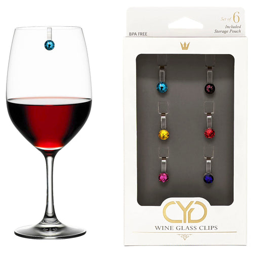 Swarovski Crystal Elements Wine Glass Clips - Set of 6
