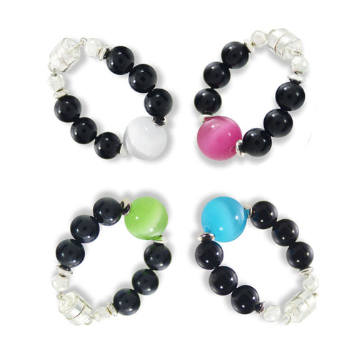Cats Eye Gemstones & Black Beads