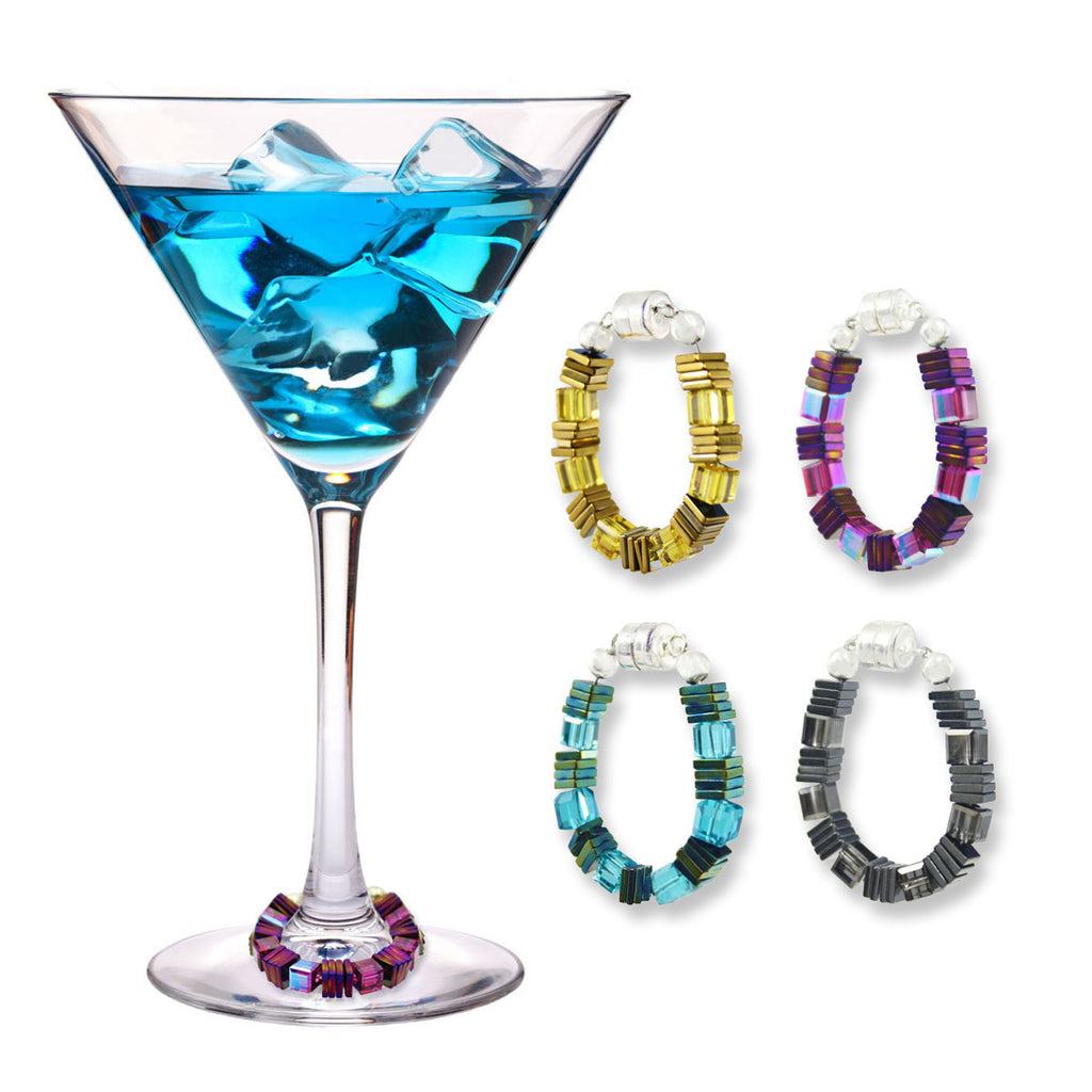 Swarovski™ Cube Crystal Wine Charms - Set of 4