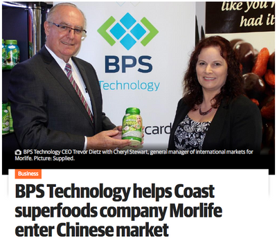 BPS Technology helps Coast superfoods company Morlife enter Chinese Market