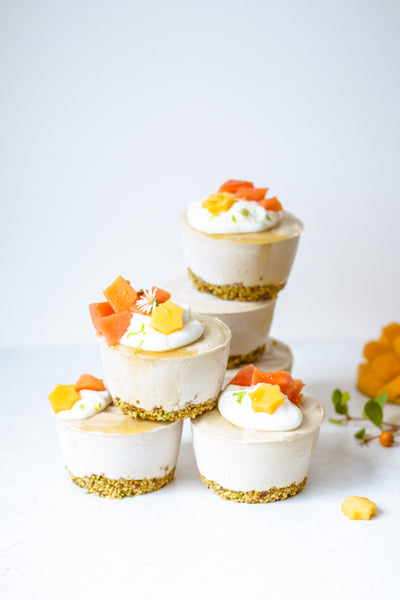 Mini Raw Mango Cheesecakes