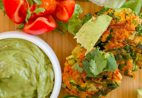 Alkaline Fritters With Avocado Dressing