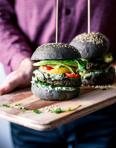 Insta-Worthy Charcoal Bun Hemp Falafel Patty Burger