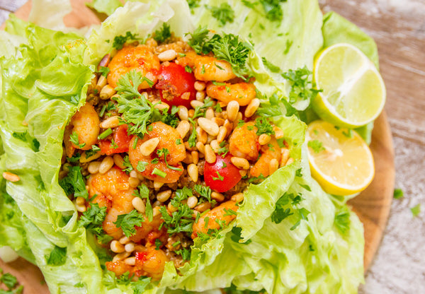 Lettuce Wraps With Mediterranean Risotto and Prawns