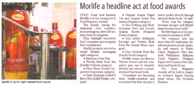 Morlife a headline act at food awards