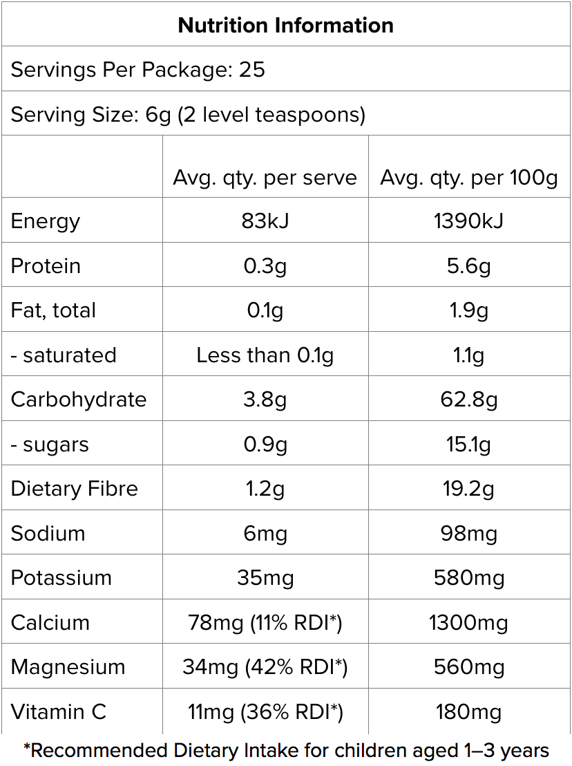 Greens Kidz Nutritional information
