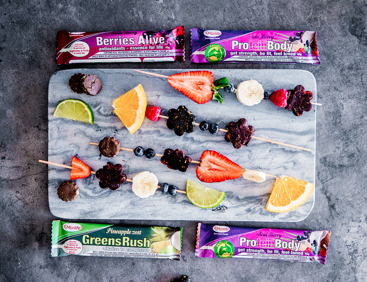 fruit and bar skewers with Morlife Protein Body bar Greens Rush bar and Berries Alive bar