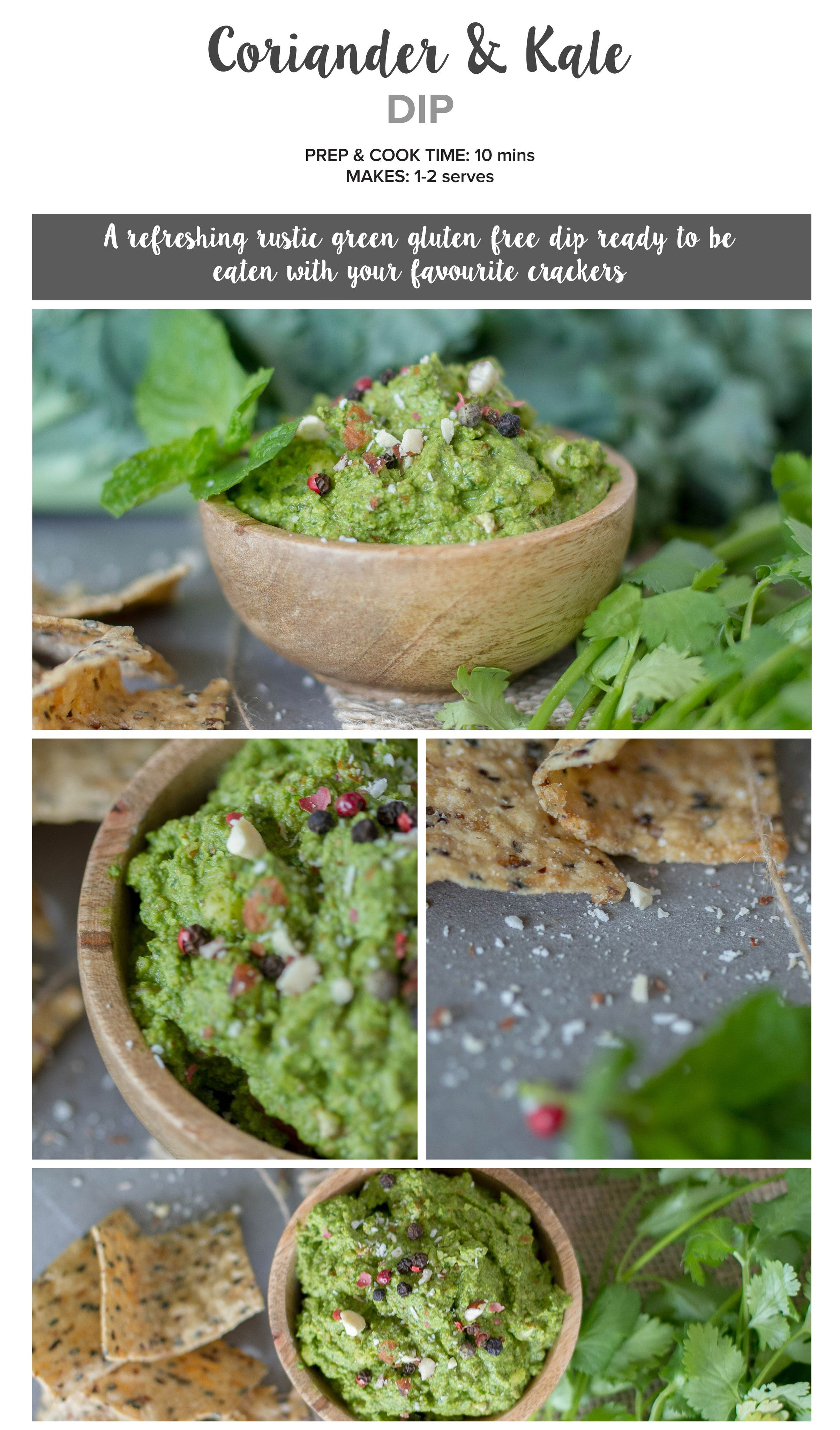 Coriander and kale dip recipe