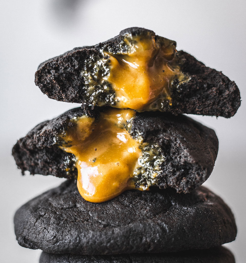 Halloween Charcoal Caramel Cookies