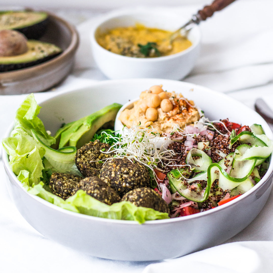 Gluten free Tabbouleh Salad with Hemp Falafels recipe