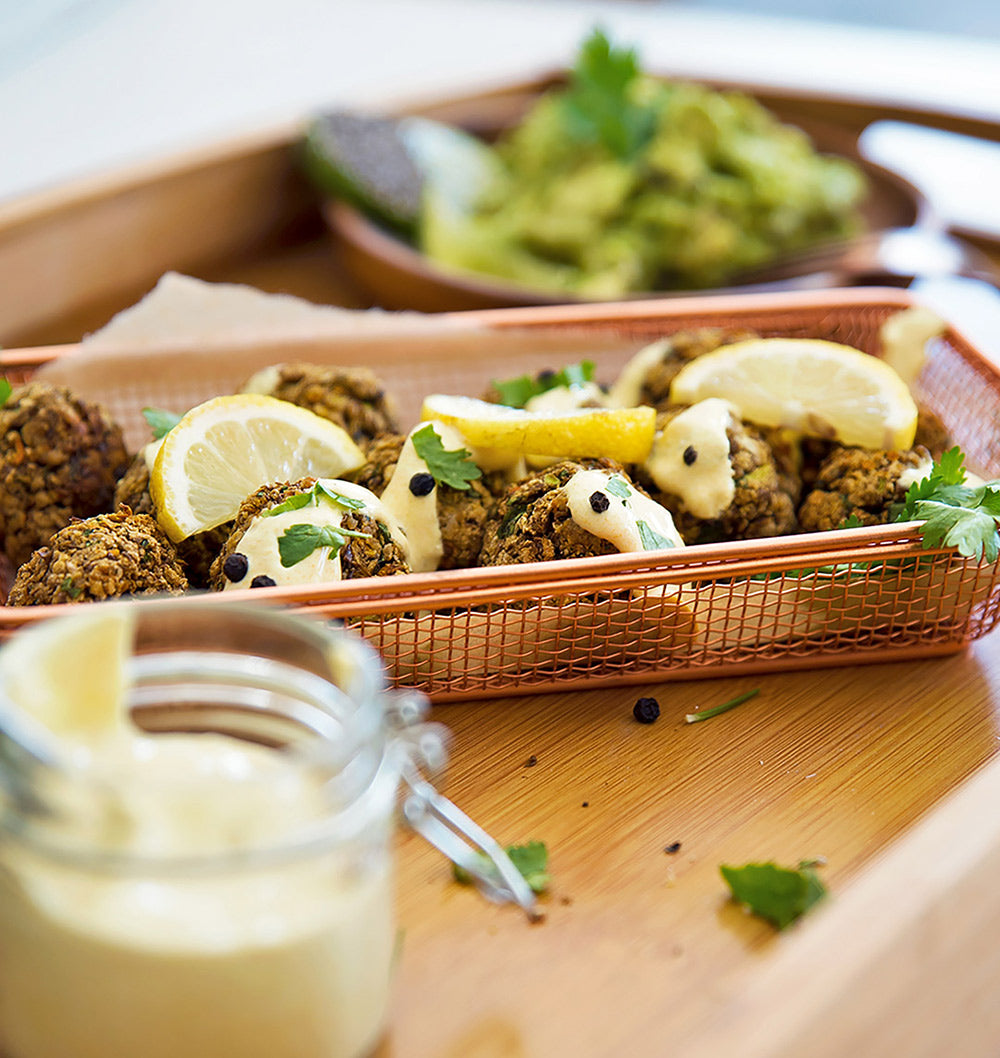 Quinoa flake falafels recipe with turmeric sauce
